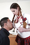Schoolgirl with pigtails Cathy Heaven is nicely screwed in the classroom
