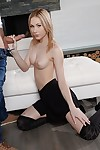 Sexual Euro schoolgirl Alice Marshall orally drains a hope boner