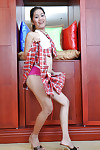 Adolescent Asian Joana flashing spectacular pink underclothing under schoolgirl petticoat