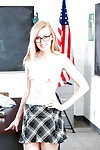 18 year old nerd Alexa Grace expanding skinhead kitty in classroom