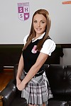 Alluring Euro babe Dominica Fox posing for dirty fotos in schoolgirl outfit
