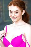 Redheaded schoolgirl Alice Inexpert flashing pink upskirt strings