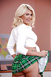 Blonde solo pretty Layla Price removing schoolgirl uniform to make known colossal love bubbles