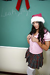 Exquisite dark brown hotty Leah fall in love with to remove clothes that schoolgirl body