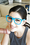 Cute brunette schoolgirl Miranda Miller giving a CFNM facefucking in glasses