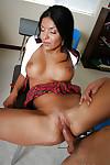Pretty dark hair latin hottie schoolgirl riding on that meat rod