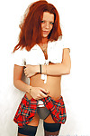 Outstanding redhead schoolgirl young Brandi undressing that body