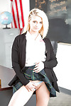 Fairy beauty Aubrey Gold flashing her upskirt schoolgirl panties below desk