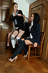 Lesbian schoolgirls Kayleigh Williams, Kym Hodgson and Roxy Payn