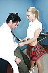 Schoolgirl young Melanie gives a facefucking for tons of cum on face