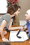 Hard-working office beauty Ashley Sinclair swallows impressive massive phallus