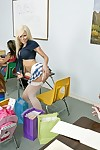 Big titted schoolgirl Kenzi Marie has a snake to fuck in classroom