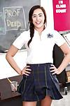 Busty schoolgirl Anastassia Swarthy flashing pink panties and bare apple bottoms