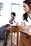 Babe in schoolgirl uniform Anissa Kate solicits for biggest sticks in throat