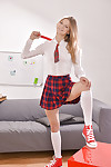 Undressing session from a adolescent pretty Cheery Pie in a schoolgirl uniform
