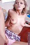 Big tit schoolgirl amateur Emily vagina smoking on the table in way