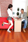 Petite schoolgirl Iva Zan keen to giving blowjobs to her advisor
