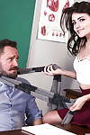 Brunette hair schoolgirl Adria Rae giving her patriarch a fellatio at school