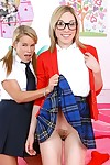 Lovesome school dears Aiden Aspen & Lily Labeau showing inflexible apple bottoms