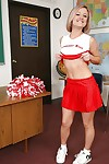 Nice-looking cheerleader Jasmine Jolie dancing and playing with her snatch