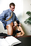 Appealing dark hair Stephanie is dick sucking giving schoolgirl in the office