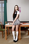 Nerdy Euro schoolgirl Abril flashing barely legal love muffins in classroom