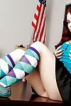 Nasty redhead schoolgirl Jessica Ryan undressing i nthe classroom