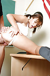 Charming brown hair schoolgirl youthful Jaclyn fur pie licked and owned bottomless