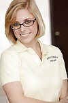 Cute schoolgirl Penny Pax is posing in her appealing glasses