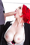 Busty redhead teacher in cylinder and high heels rides phallus exchanger in classsroom