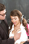 Adolescent and buxom 18 year old slut Cassidy Banks smokin\' her schoolteacher