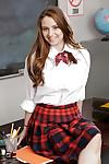 Teenager schoolgirl Elektra Rose gradually takes off her stunning outfit