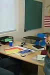 Schoolgirl Hillary Scott with massive apples smoking on the school desk