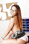 Sweet ebony schoolgirl in glasses Teanna showing her body and cage of love