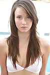 Svelte teenage dark hair Natasha Malkova killing off her bikini