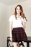 Teen schoolgirl Samantha Hayes flashing her upskirt tie adorned apple bottoms