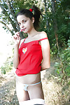 Bawdy teen getting subterranean and toying her skinhead gentile outdoor