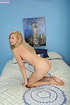 Infant blond chicito Alexa Grace making nude modelling debut on mattress