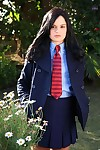 Spectacular teen in school uniform Jenna Ross uncovering her thin body outdoor