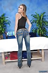 Adolescent darling Kara takes off jeans staying in underclothes prior to massage