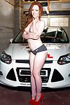 Redhead model model Ella Hughes bows and twerks her vast booty