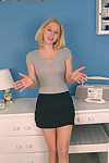 Golden-haired infant darling Laura undressing and showing her waste