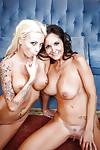 Tattooed fairy amateur sharing a huge rough weenie with top-heavy dark hair MILF