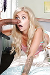 Interracial act of love with a adolescent blonde Madelyn Monroe ridding a major schlong