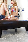 Lesbian hotties legal age teenagers Mandy Armani and Molly Bennett bonks in 69 pose