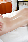 Oiled up fresh floozy has some muff fingering and fucking getting joy with a masseur