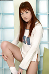 Lusty redhead adolescent in white socks undressing and fingering her vag