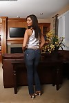 Spectacular courtesan in jeans getting bare and amplifying her legs