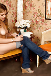 Young juvenile doll Emily Rose revealing beautiful mangos and rubbing fur pie