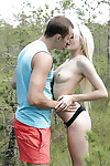 Teen with insignificant boobies Olivia Devine gets bonked in the forest